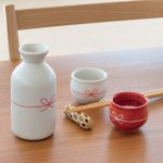Musubi zake -むすび酒- 徳利と紅白の盃の酒器セット。